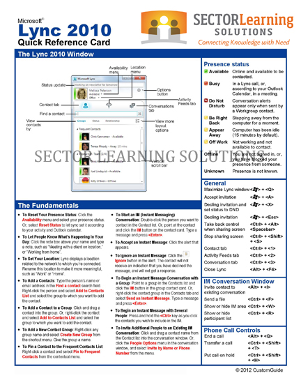 new quick reference guides lync 2010 and acrobat 10 sector rh sectorlearning wordpress com Quick Reference Guide Template Microsoft Office 2010 Reference Guide